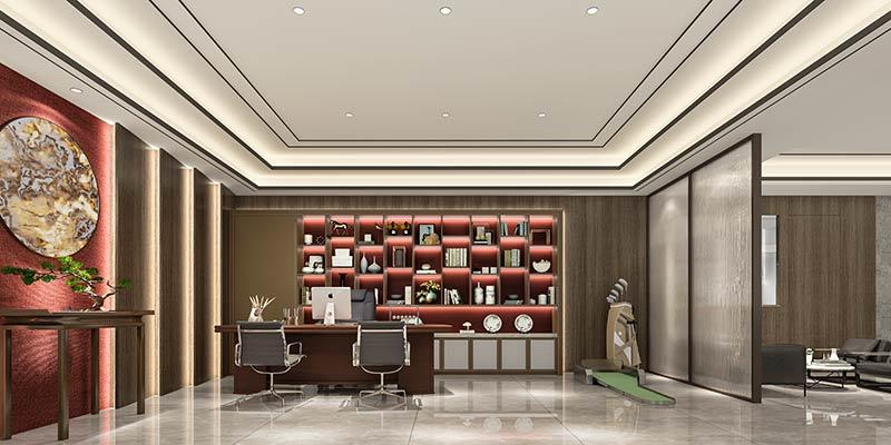 珠海中式风格办公室效果图装修案例